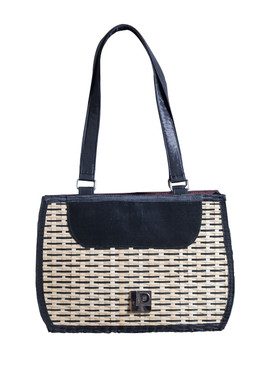 Black Across Bamboo Bag with Fabric Handle