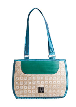 Blue and Green  Bamboo Bag with Fabric Handle