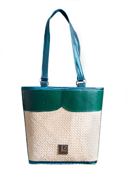 Bucket Green and Blue Bamboo Bag with Fabric Handle