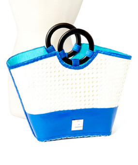 Throw-back to 1970's Bamboo Straw Handbag in Blue