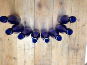 8 185 ML 6.25oz cobalt blue glass wine or champagne bottles