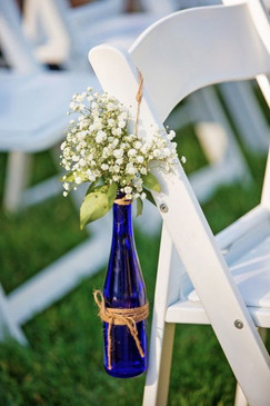 Rustic Wedding Flower display - Lot of 8 brand new Cobalt blue glass wine bottles