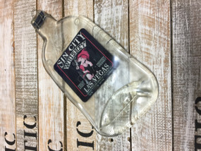 Sin City Whiskey Handmade melted bottle serving tray - Great one of kind gifts