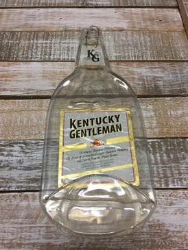 Kentucky Gentleman Handmade Serving Bottle Tray - Melted Glass Whiskey Bottle