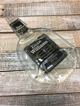 Evan Williams Handmade Serving Bottle Tray - Melted Glass Whiskey Bottle