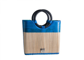 Recycled Beach Stylista Straw Bag using Reclaimed Layflat hoses with Bamboo Handles