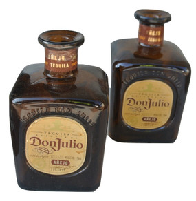 Don Julio Anejo 750ml light blue Tequila Glass Bottle EMPTY SQUARE- rustic centerpiece Lot of 2