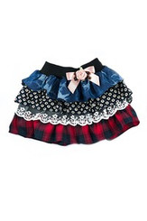 Denim Plaid Tutu Skirt