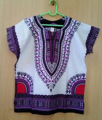 Kids Purple & White Unisex Dashiki