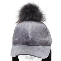 Grey Pom Pom Velvet Hat