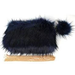 Blue and Black fur Clutch