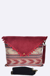 Burgundy Aztec Pom pom fashion clutch