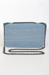 Light Denim Studded Clutch