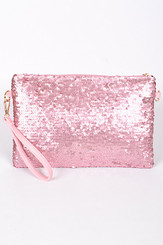 Sky Pink Sequin Clutch