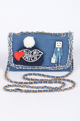 KissMy Patch Denim Clutch