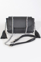 Black Chain clutch with tassels & studs