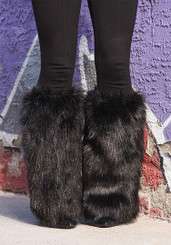 Black Fur Below The Knee  Boot Covers