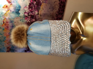 Denim Studded Cap with fur ball