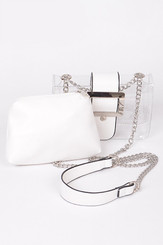 two in one white clutch