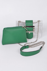 two in one Green clutch