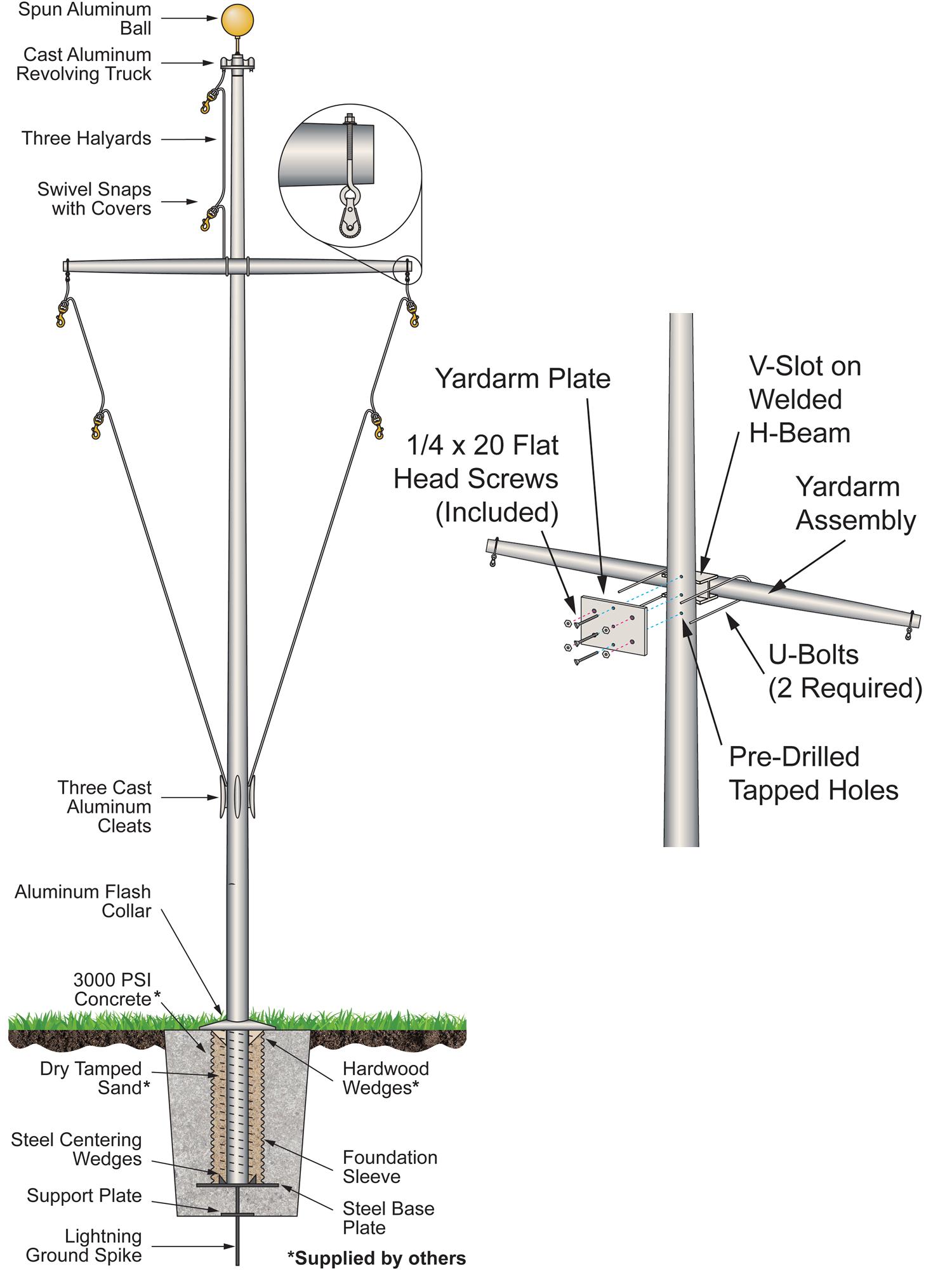 Single Mast Nautical Flagpoles