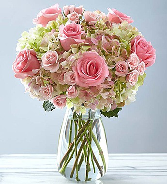 Blush Rose + Hydrangea Antique Green Bouqet