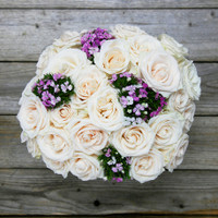 24 White Roses + Accents