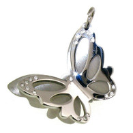 Stainless steel butterfly pendant with CZ accents.  Pendant Approx. Weight: 14.4 grams