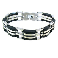 "Stainless Steel & Black Bracelet   Highly polished stainless steel bracelet with black accents.   Size . 8.0"" long"