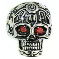 Description:  Large stainless steel skull ring with red CZ eyes.  Available Sizes: 8 - 16   Approx. Dimensions: 1.25 inches x 1.18 inches   Approx. Weight: 39 grams