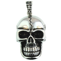 Large Stainless Steel Cracked Skull Pendant.   Large stainless steel cracked skull pendant with intricate detailing.   Pendant Approx. Weight: 55.9 grams   Approx. dimensions:1.49 inches x  2.95 inches  Comes with Free Stainless Steel Rope Chain