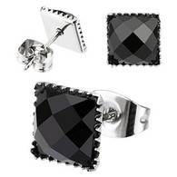 Pair of 316L Surgical Steel Multi Faceted Square Black Onyx Gem Earring