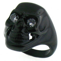 Stainless steel black skull ring with clear CZ eyes!  Available Sizes: 8 - 16