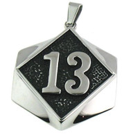 Large stainless steel 13 biker pendant   Includes Stainless Steel Box Chain 2.5mm