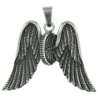 Large stainless steel wheel wings pendant   Includes Stainless Steel Box Chain