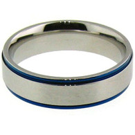 Description: Stainless Steel Blue Trim Ring   Top Width: 6mm  Available Sizes: 5 - 16