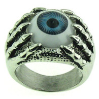 Stainless steel skull ring with an eye ball!