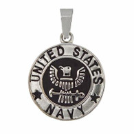 US Navy Medallion Pendant Includes Stainless Steel Rope Chain 30mm Matte finish / High polish finish  316L Stainless Steel   Choice of Rope Chain Length 20 or 24 Inch