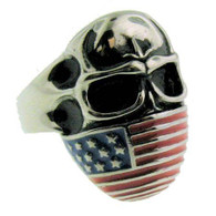 Stainless steel skull flag ring with intricate detailing!  Available Sizes: 9 - 16  Approx. W:25mm x L:30mm