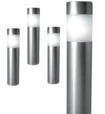 A set of Four Stainless Steel Path Bollard Lights, 4 White LED light, solar powered