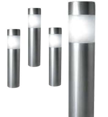 a set of four stainless steel path bollard lights 4 white led light solar powered - Bollard Lights