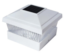 "8004 W 5x5"" Square Fence Post Cap Mount, Solar White LED Light, 1 Pack of White Color"