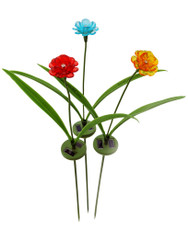 A Pack of 3 Glass-like Flower Solar LED Lights, Gift Package for Holidays