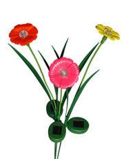 A set of 3 Red, Yellow, and Pink Trumpet Flowers Solar Garden Yard Stake Lights