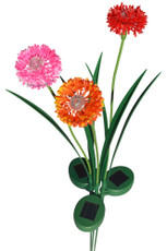 A set of 3 Pink, Orange and Red Onion Blossom Solar Garden Yard Stake Lights