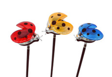 A set of Three Solar Ladybug Lights, White LED Solar Lights