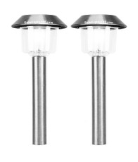 A pack of two Stainless Steel LED Solar Lights, two modes lighting