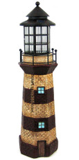 "39"" Lighthouse Staute Solar Light, Burgandy and Ivory Stripes"