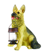 German Shepherd Dog With Solar Powered Lantern LED Light