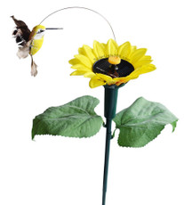 Solar or Battery Powered Fluttering Hummingbird with Sunflower